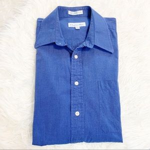 Christian Dior Blue Button Front Shirt 15.5 32/33